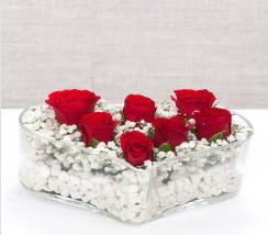 kalp içerisinde 7 adet kırmızı gül  Malatya hediye sevgilime hediye çiçek