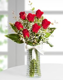 Cam vazoda 7 adet kırmızı gül  Malatya internetten çiçek siparişi