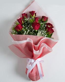 9 adet kırmızı gülden buket  Malatya çiçekçiler
