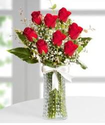 7 Adet vazoda kırmızı gül sevgiliye özel  Malatya cicekciler , cicek siparisi