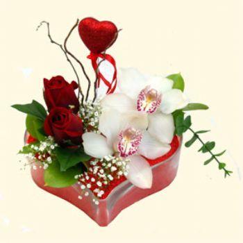 Malatya online çiçekçi , çiçek siparişi  1 kandil orkide 5 adet kirmizi gül mika kalp