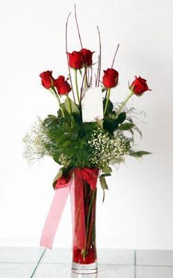 Malatya çiçek mağazası , çiçekçi adresleri  6 adet kirmizi gül ve cam yada mika vazo