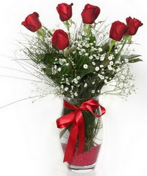 7 adet gülden cam içerisinde güller  Malatya güvenli kaliteli hızlı çiçek