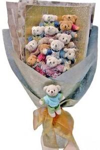 12 adet ayiciktan buket tanzimi  Malatya çiçek servisi , çiçekçi adresleri