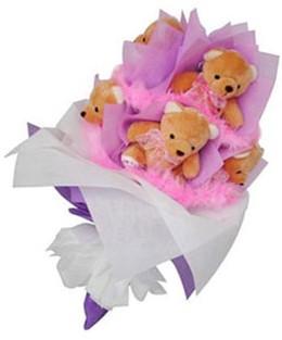 9 adet ayiciktan buket  Malatya online çiçekçi , çiçek siparişi