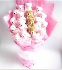 17 adet pelus ayicik buketi  Malatya ucuz çiçek gönder
