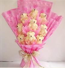 9 adet pelus ayicik buketi  Malatya yurtiçi ve yurtdışı çiçek siparişi