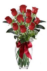 11 adet kirmizi gül vazo mika vazo içinde  Malatya güvenli kaliteli hızlı çiçek
