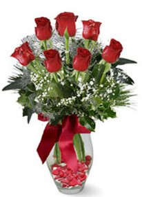 Malatya anneler günü çiçek yolla  7 adet kirmizi gül cam vazo yada mika vazoda