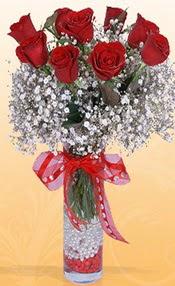 9 adet kirmizi gül cam yada mika vazoda  Malatya çiçek gönderme sitemiz güvenlidir