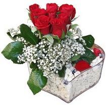 Malatya çiçek gönderme  kalp mika içerisinde 7 adet kirmizi gül