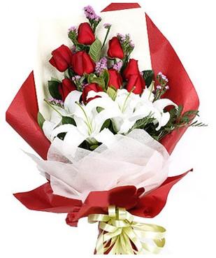 Malatya 14 şubat sevgililer günü çiçek  1 dal kazablankaa 9 adet kırmızı gül buketi