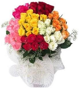 Malatya internetten çiçek satışı  51 adet farklı renklerde gül buketi
