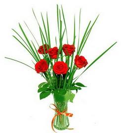 Malatya internetten çiçek siparişi  6 adet kırmızı güllerden vazo çiçeği