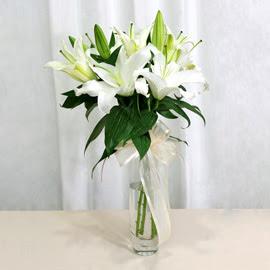 Malatya yurtiçi ve yurtdışı çiçek siparişi  2 dal kazablanka ile yapılmış vazo çiçeği
