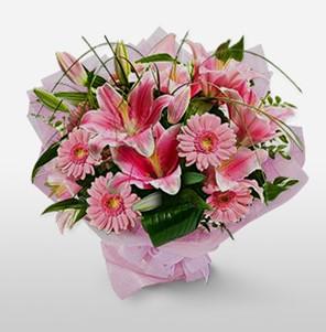 1 dal kazablanka ve kır çiçek görsel buketi  Malatya uluslararası çiçek gönderme