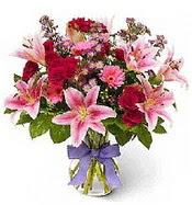 Vazo içerisinde karışık mevsim çiçeği  Malatya cicekciler , cicek siparisi