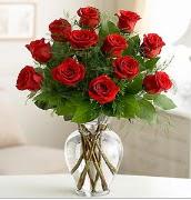 Vazo içerisinde 12 kırmızı gül  Malatya çiçekçiler