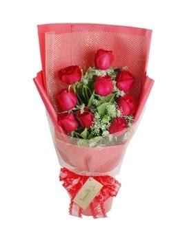 9 adet kırmızı gülden görsel buket  Malatya çiçek siparişi vermek