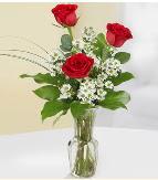 Vazo içerisinde 3 adet kırmızı gül  Malatya çiçekçiler