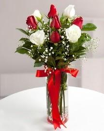 5 kırmızı 4 beyaz gül vazoda  Malatya çiçek mağazası , çiçekçi adresleri