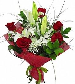 1 dal kazablanka 5 kırmızı gül buketi  Malatya çiçek yolla