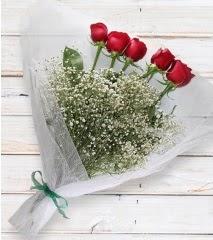 5 kırmızı gülden sade buket  Malatya çiçekçi mağazası