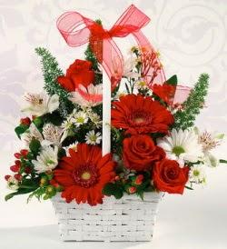 Karışık rengarenk mevsim çiçek sepeti  Malatya anneler günü çiçek yolla