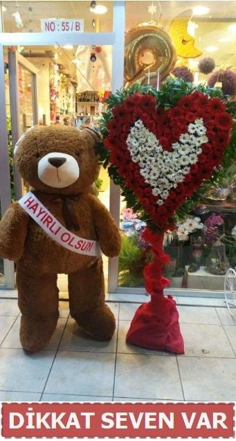 1.5 Metre peluş ayı ve Kalp  Malatya hediye çiçek yolla