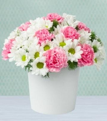 Seramik vazoda papatya ve kır çiçekleri  Malatya cicekciler , cicek siparisi