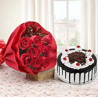 12 adet kırmızı gül 4 kişilik yaş pasta  Malatya internetten çiçek siparişi
