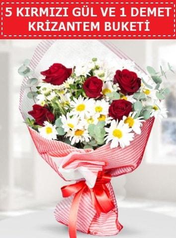 5 adet kırmızı gül ve krizantem buketi  Malatya çiçekçiler