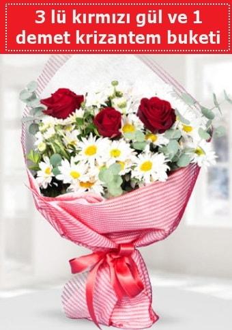3 adet kırmızı gül ve krizantem buketi  Malatya hediye çiçek yolla