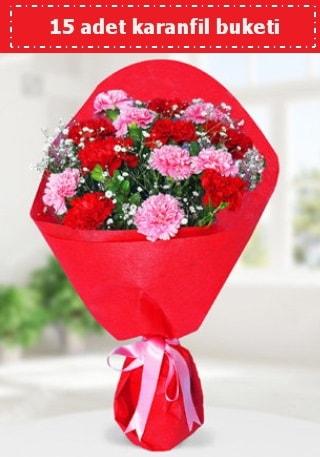 15 adet karanfilden hazırlanmış buket  Malatya çiçek mağazası , çiçekçi adresleri