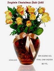 Malatya uluslararası çiçek gönderme  mika yada Cam vazoda 12 adet sari gül